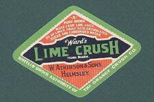 1930S 1940S WARDS ORANGE CRUSH LIME SODA ATKINSON HEMSLEY BOTTLE LABEL