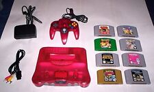 Nintendo 64 Watermelon System Console lot and 8 N64  Games and Expansion Pak