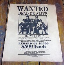 Wanted Dead or Alive Wild Bunch $2500 Reward Butch Cassidy Sundance Kid Poster