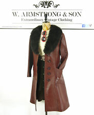 VINTAGE Brown 70s REAL LEATHER Shaggy SHEARLING Penny Lane Fitted Hippy Coat 12