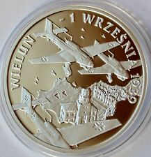 10 Zlotych, 2009 Poland, WW II Nazi Germany invading Poland 1939, Wielun bombing