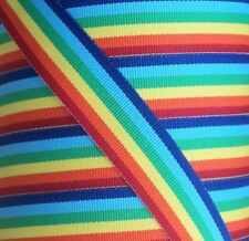 "1 yard - 10mm (3/8"") wide RAINBOW STRIPE WOVEN DOUBLE SIDED  RIBBON TRIM"