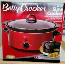 Betty Crocker BC-1544C 5-Quart Slow Cooker Pot Travel Bag recipe Red New in Box