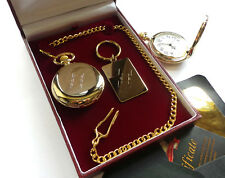 24k Gold clad Star of David Pocket Watch Bar Mitzvah Gift Set Magen David Cased