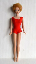 Vintage Mattel Blonde BUBBLE CUT BARBIE in Red Swimsuit 1964-65 Mark