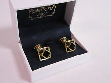Penrose of London Designer Cufflinks Apollo Gold & Black Enamel RRP £135 #CL38