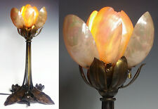 Art Nouveau Bronze Water Lily Lotus LAMP Mother of Pearl Shade MOP Majorelle ?