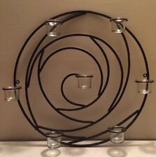Wrought Iron Wall Candle Holder Circular Swirl Sconce Plaque Decore