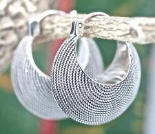 Sterling Silver .925 Solid Ribbed Textured Huggie/Hoop Earrings. Leverback Latch