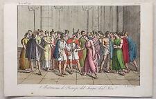 Südamerika Inka Hochzeit Tracht Kupferstich um 1825 Giarré handkoloriert Grafik