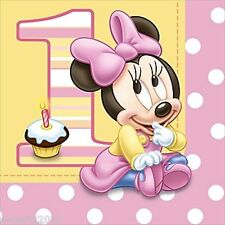 MINNIE MOUSE 1st BIRTHDAY LUNCH NAPKINS (16) ~ First Party Supplies Dinner Large