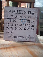 shabby & chic vintage calendar the day you became nanny dad mum plaque sign
