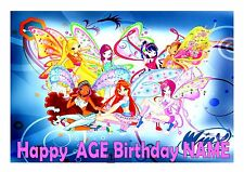 1 / 4  WINX CLUB CAKE TOPPER A4  EDIBLE ICED ICING FROSTING PERSONALISED