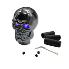 1X Universal Metal Blue LED Skull Manual Gear Shift Knob Lever Shifter Silver