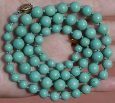 Chinese Natural Turquoise Carved Carving Bead Necklace Silver Knot Mk 44Gram