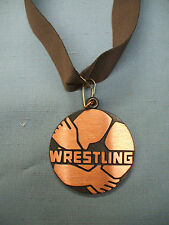 "bronze  WRESTLING 2"" dia medal brown neck drape trophy"
