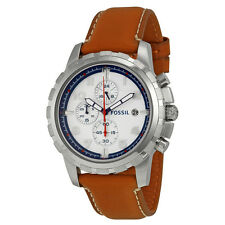 Fossil Dean Chronograph Silver Dial Tan Leather Mens Watch FS5069