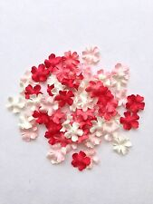 100 Shade of Red, Peach, White Mini, Mulberry paper flowers embellishment - 3/4""
