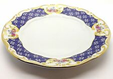 LOT OF 6 ANTIQUE ZSOLNAY HUNGARY PECS BLUE AND GOLD FLORAL DESSERT PLATES ~ZSO1~
