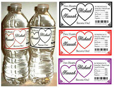 50 HEARTS WEDDING WATER BOTTLE LABELS  Waterproof ~ ANY COLOR