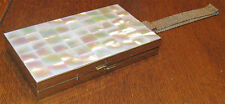 1940's Mother of Pearl & Milled Brass Clutch Purse/Minaudiere w/Mesh Strap EUC