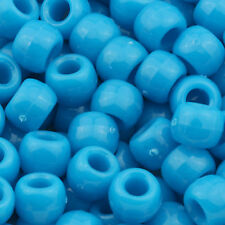100pcs Plastic Pony Beads 9x6mm Opaque Turquoise for Kandi USA Made 11201009