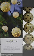 Threshold 10 Plastic Globe Cover String Lights Indoor/Outdoor Green Wire NIB