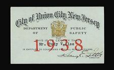 RUDY VALLEE 1938 ORIGINAL UNION CITY NEW JERSEY POLICE COURTESY CARD