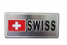 SWITZERLAND COUNTRY FLAG-SILVER LICENSED STICKER FLAG PLATE..SIZE: 6 X 3 INCH