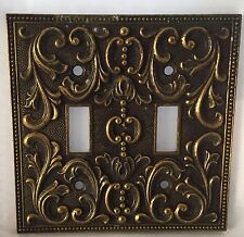 Vintage Ornate Gold /Brass Metal Wall  Double Light Switch Plate Cover Italy