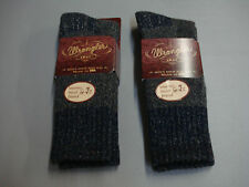 NWT Men's Wrangler Merino Wool Blend Socks Shoe Size 9-13 Blue 2 Pair #495