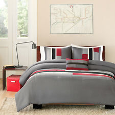 3pc RED GREY Twin/Twin XL Comforter Set Reversible Bedding Machine Wash NEW