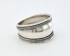 Mens Womens Sterling Silver 925 Bali Artisan Wide Band Boho Ring Size 6 8 9