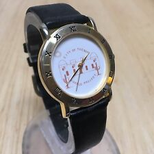City Of Tucson Men Gold Tone Roman Leather Analog Quartz Watch Hours~New Battery
