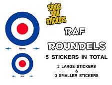 RAF roundels 5 Pack, Pegatinas de calidad superior calcomanías, Van Coche Scooter Mods 2 Tamaños