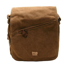 Troop London - Brown Canvas Classic Across Body/Messenger Bag with Leather Trim
