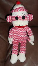 TY Beanie Baby - SOCKS the Sock Monkey (Pink & White Zig Zag) (8.5 inch) - MWMTs