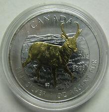 2013 Bullion $5 1oz Antelope .9999 Silver Maple Leaf SML w/ gold plate Canada CO
