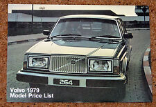 1979 VOLVO Price List - 264TE Limo, 262C Coupe, 264 244 Saloons, 265 245 Estates