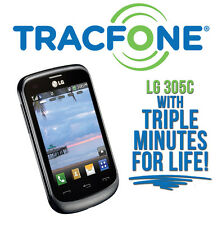 NO CONTRACT LG 305C Tracfone with (3x) Triple Minutes for Life! Prepaid Cell NEW