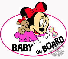 STICKER MINNIE MOUSE BABY ON BOARD BABY GIRL CHILD PELLICOLA ETIQUETA