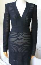 BALMAIN LONG-SLEEVE TIGER-STRIPE MINI DRESS UK 8/10