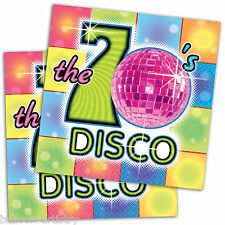 16 Groovy 70's Disco Party 33cm Disposable 2ply Napkins
