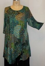 Coco & Juan Lagenlook Plus Size Tunic Teal Peacock Knit Asymmetric Top 1X2X B50""