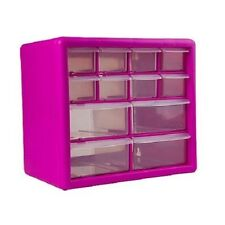 12 Pink Bin Box Drawer Storage Buttons Craft Organizer Small Items Tools Cabinet