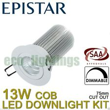 Led Dimmable Downlight Complete Kit Ceiling Bulb COB 13W Cool White White Cover