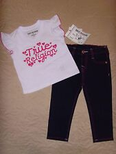 NEW TRUE RELIGION BABY GIRLS OUTFIT 2PC GIFT SET JEANS & TEE T-SHIRT SIZE -24M