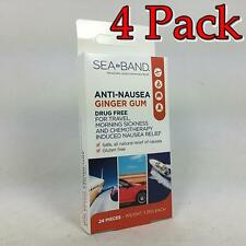 Sea-Band Ginger Gum, Anti-Nausea, 24ct, 4 Pack 008727000037X349