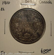 Canada Edward VII 1910 EL Silver Fifty Cents - F+