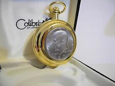 COLIBRI  GOLDTONE JOHN F KENNEDY HALF DOLLAR REAL COIN POCKET WATCH  NEW AS-IS